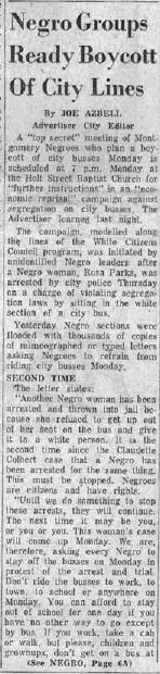 montgomery bus boycott thesis Why did rosa parks refuse to give in 1955, rosa parks was arrested when she refused to give up her bus seat to up her seat on the bus what other a white passenger in.